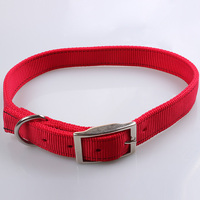 cheap personalized custom strong nylon and metal buckle solid color rope dog collar for hunting dog