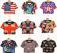 2015 new Korean version of Harajuku style stamp Mama flag lo shi short paragraph short-sleeved T-shirt women