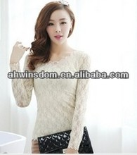 D61150A 2014 SPRING NEW KOREAN DOUBLE FULL LACE LONG-SLEEVED T-SHIRT