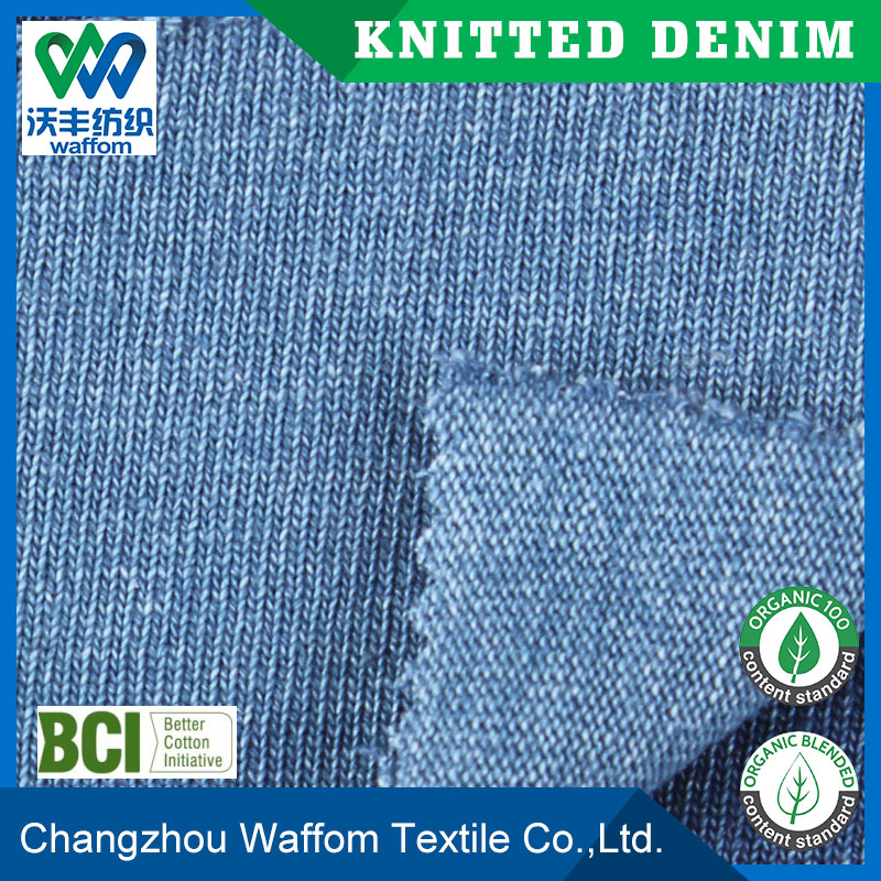 100cotton double yarns knitted denim jersey fabrics for denim dress