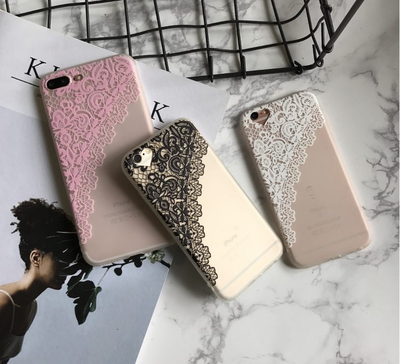 Pink lace border transparent case for iphone 7,3D Art pattern Couple and goodfriends's gift TPU case for iphone 7