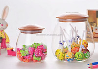 Heat resistant keep fresh sealed borosilicate glass storage jar with wooden lid