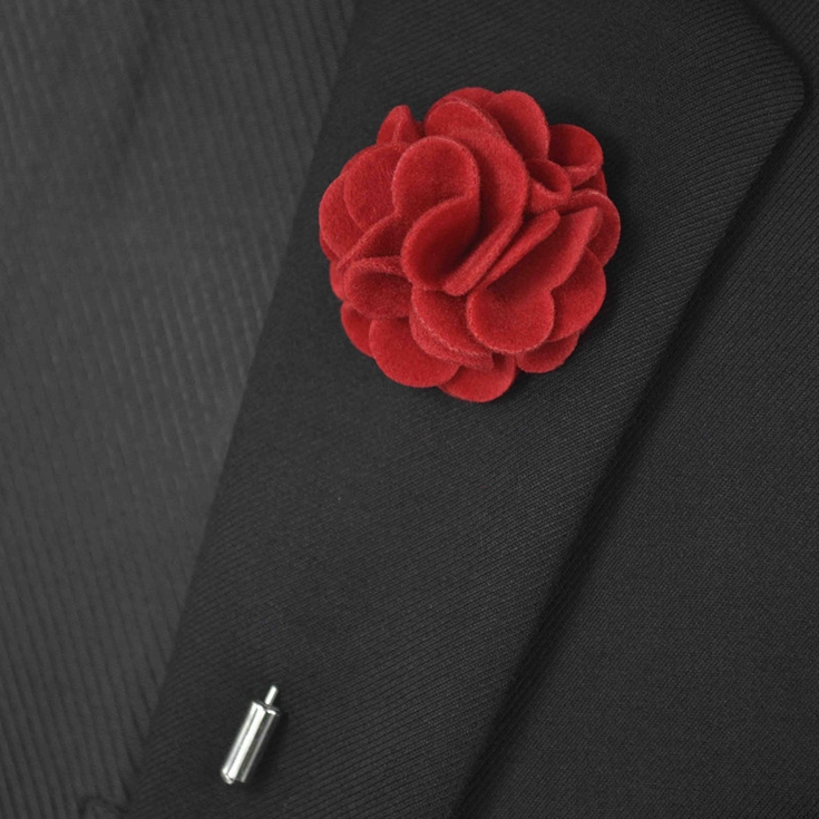 Hot Selling Handmade Lapel Pin Fabric Brooch Suits Flower Wedding Men Brooch