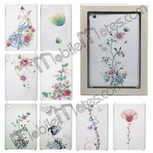 Colorful White Background Flowers and Diamond Studded Back Cover Hard Case for iPad Mini