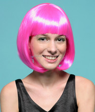 Best selling products Short Straight bright pink Cosplay Wig heat resistant fiber Bob Style synthetic Hair Wigs cheap party wigs