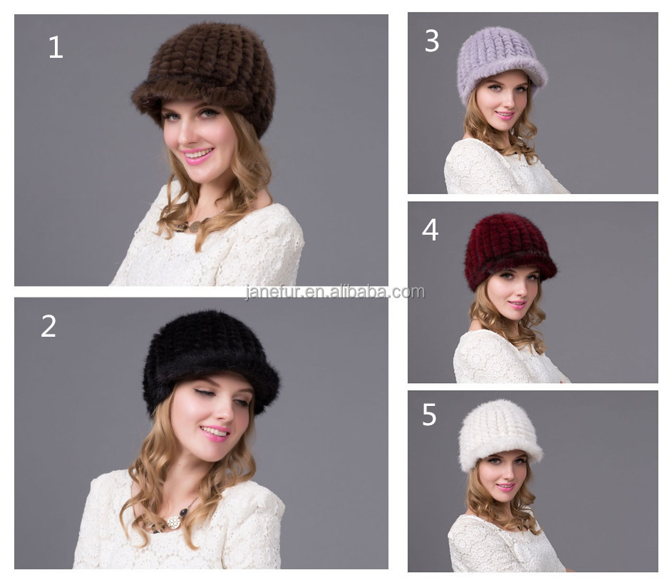 New style Janefur pretty lady's fashionable aninal fur hat knit mink fur cap multi color