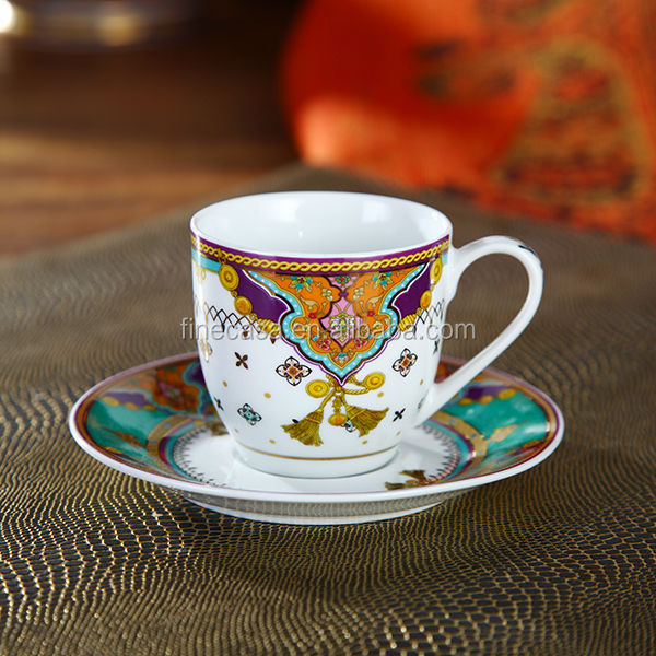 110CC Luxury Hyper White Fine Porcelain Espresso Cup and Saucer of Summer of Persia