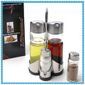 stainless steel condiment holders glass cruet bottle vinegar oil glass condiment set
