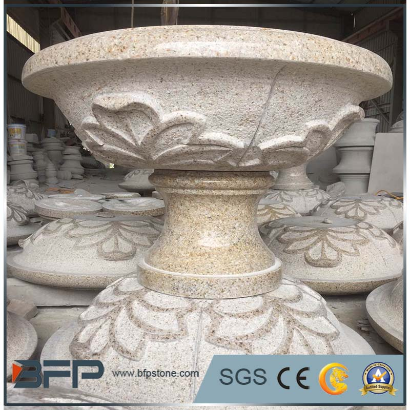 Granite curved flower pot for garden decoration pot