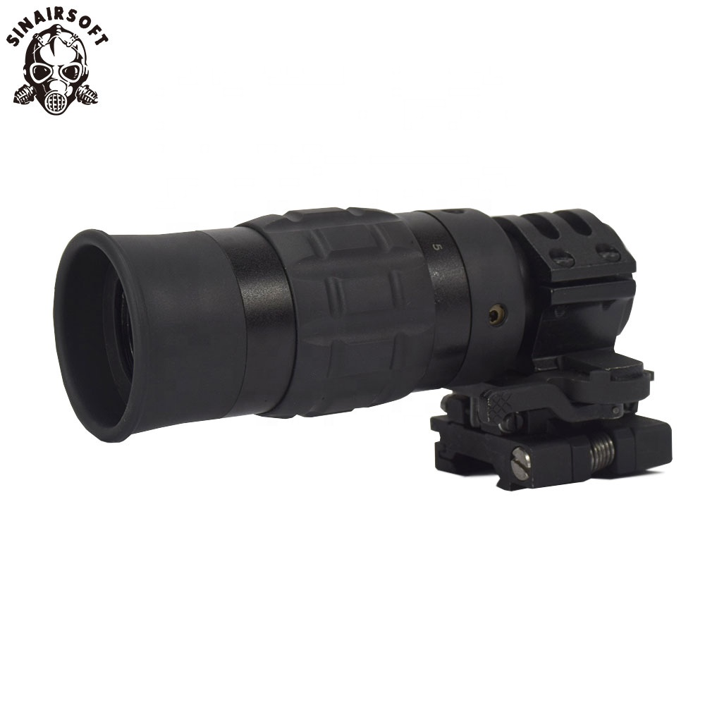 SINAIRSOFT Tactical Zooming 1.5-5X Magnified Optics Magnifier Scope with Flip to Side Mount for Hunting