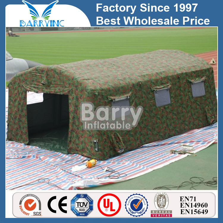 Durable camouflage inflatable military tent with tube support