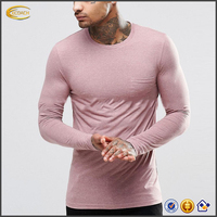 2018 NEW wholesale clothing factory custom logo slim fit muscle long sleeve t-shirts for men