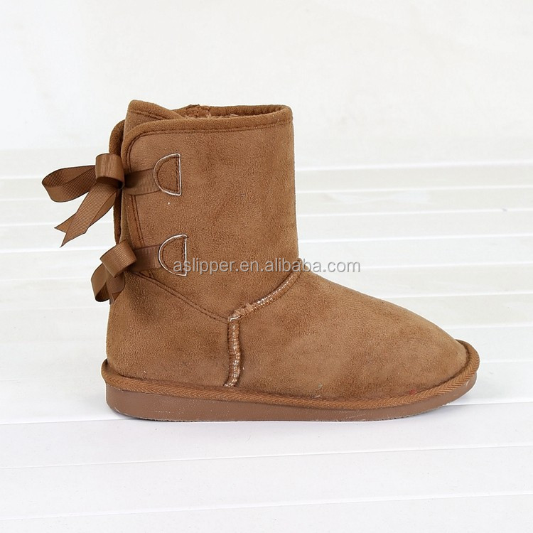 non-slip winter warm snow boots for women flat sole winter boots with back butterfly