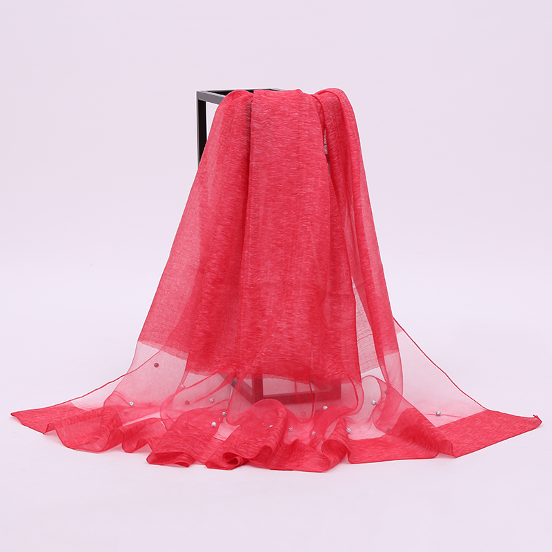 Factory Direct Wholesale Women Fashion Diamond Long Red Silk Viscose Islam's Tudong Scarf