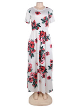 Wholesale short sleeve full length sundress maxi long dress