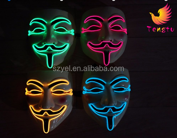 El wire led flashing led light up party mask/ el wire mask