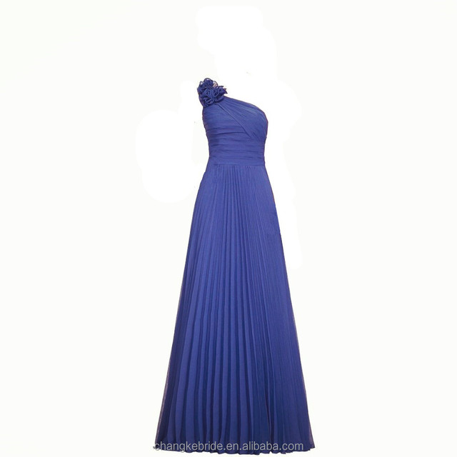 Wholesale Latest Design One Shoulder Floor-Length Chiffon Pleated Long Bridesmaid Dresses
