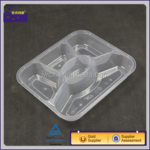 Black/White Five Compartment Microwaveable Disposable Plastic Bento Deli Take Away Lunch Box