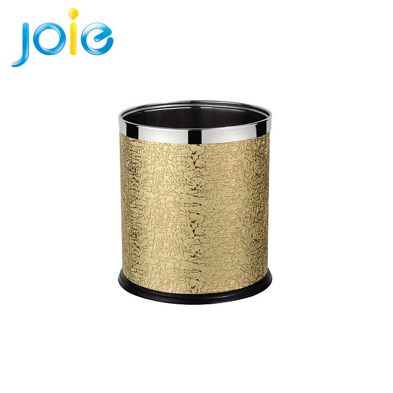 Golden stainless steel waste recycle bin.