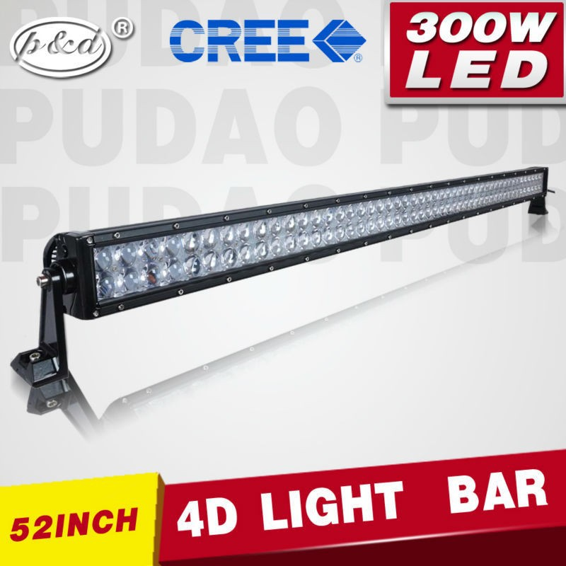 motorcycle accessories 52'' 300w PC lens material led light bar for wrecker 4x4 Trucks, Jeeps