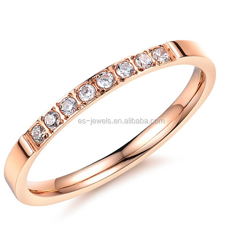 Rose Gold Cubic Zircon Fashion Stainless Steel Rings for Women