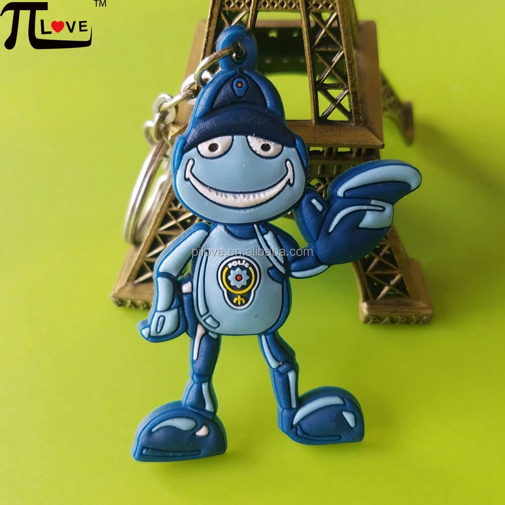 Wholesale 3d cartoon character customized embossed rubber key chain