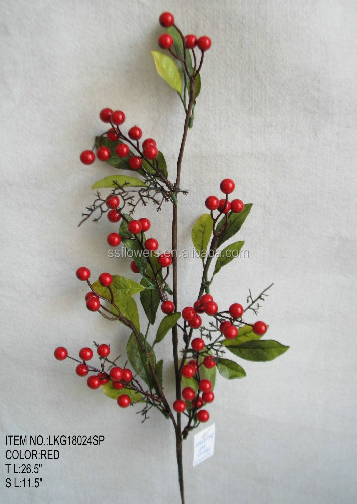 "Hot sales Artificial Berry Pick Christmas 26.5"" with holly leaf Ornament for Christmas house Decoration"
