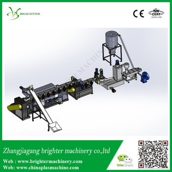 Vertical force feeding, single stage , water ring grind pe film granulation line