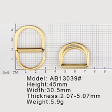 Fashion Metal D Ring Side Release Metal Brass Double Buckle For Ladies Bags Handbag