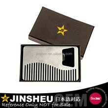 Custom logo engraved card metallic men beard comb