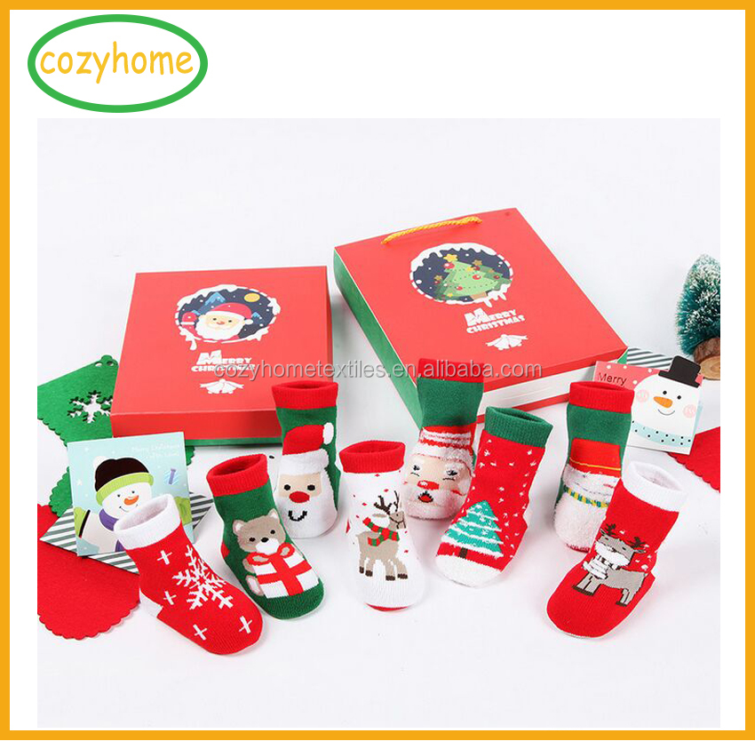 Hosiery manufacturers christmas promotion baby anti-slip walking socks happy baby christmas decoration cozy socks