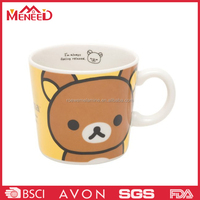 European style A5 quality sample free bear print round food grade plastic kids cartoon mug