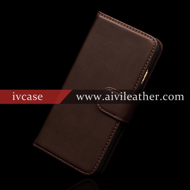 Protective Leather Wallet Holder Cover For Iphone 7 Plus Mobile Cases With Cow Skin Genuine Leather Material