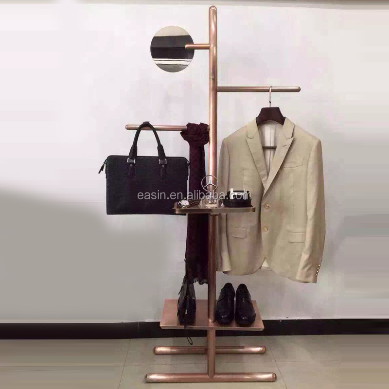 OEM metal coat clothes hanger stand for Men's clothes/shoes and hats display racks