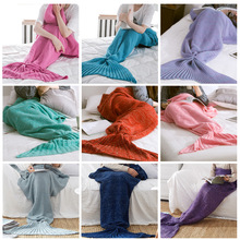 9 colors Comfortable Acrylic Knitted Sofa Mermaid Tail Style Blanket,Mermaid Blanket Tail