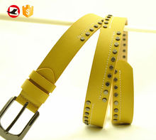 100% Genuine Cow Hide Studded Leather Belt For Women Hot Sale