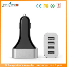 New model 9.6A 4-Port USb Car Charger With Aluminum alloy outer ring