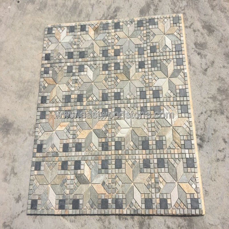 yellow slate stone mosaic wall tile for interior house