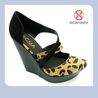 Thick Platform Wedge Leopard Printing Pattern Ladies High Heel Shoe