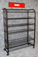 Black Snack Rack Wire Display Floor Stand