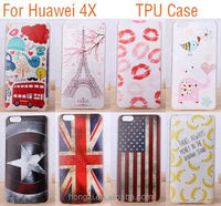 for Huawei Honor 4X Hot Painted Gel Case Back Cover Shell Cool Captain America Skull Flag Phone Cases Covers