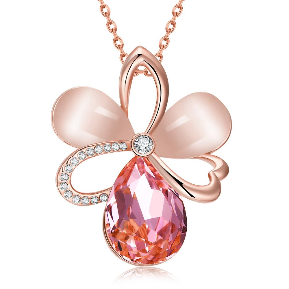 Newest Arrival Luxury 18K Gold/Rose Gold Plated Czech Drill + Opal + Glass Big Flower Necklace <strong>Pendant</strong> for Women Fashion Jewelry