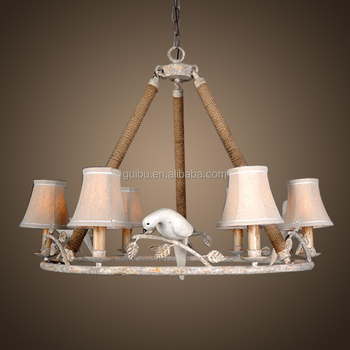 American vintage iron chandelier lamp with birds