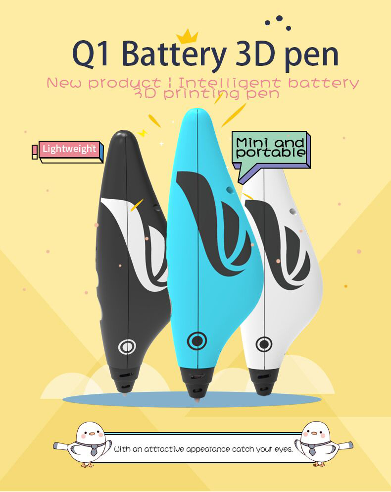 3d pen battery 3d printing drawing  print pen with filament