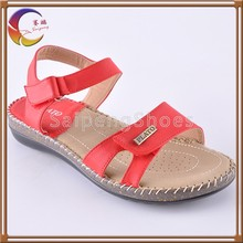 Red Color Wholesale From Factory Ladies Leather Sandals Summer