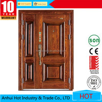 China alibaba interior doors double leaf steel wood security mom and son door main grill design