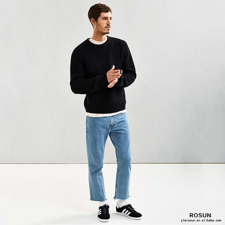 Mens crew neck cable knit sweater