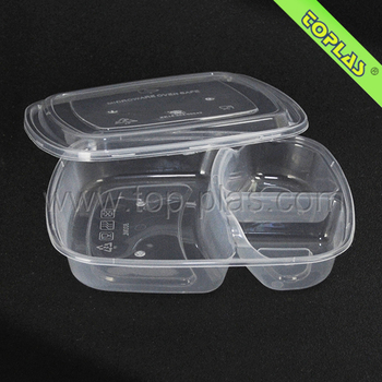 Disposable Divided Lunch container Mircowave Safe 3 compartment food container