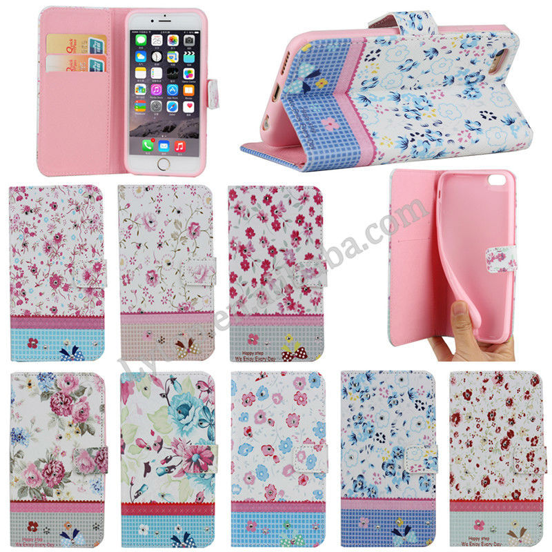 Diamond flower wallet case for iPhone 6 with stand,wallet case for iphone 6