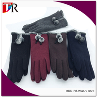 Pompom Winter Gloves Ladies Screen Touch